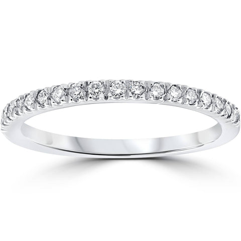 F/VS .25ct Pave 100% Diamond Wedding Ring 14K White Gold Lab Created
