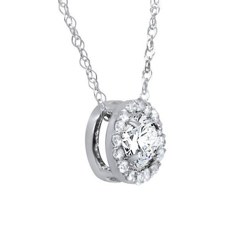 1/2 Ct Round Diamond Pave Halo Fancy Solitaire Pendant 14k White Gold