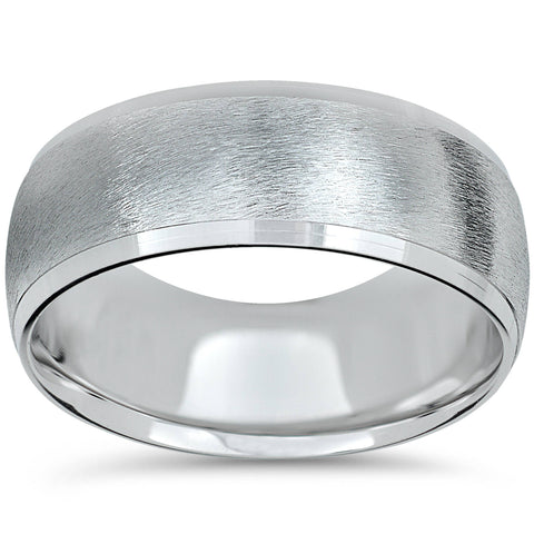 White Gold Wedding Band Mens Brushed Ring High Polished Beveled Edge 8mm