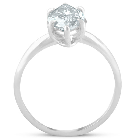H/SI2 3 ct Marquise Shape Diamond Solitaire Engagement Ring White Gold Enhanced