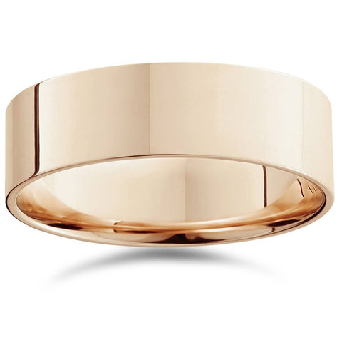 14K Rose Gold 7mm Flat Comfort Fit Plain Wedding Band