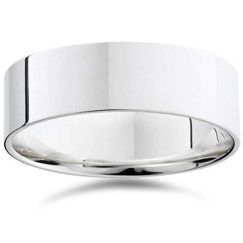 7mm Flat High Polished Wedding Band 10K White Gold