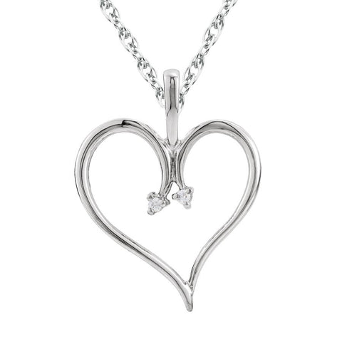 "Heart Diamond Pendant & Chain 10 Karat White Gold 1""Tall"