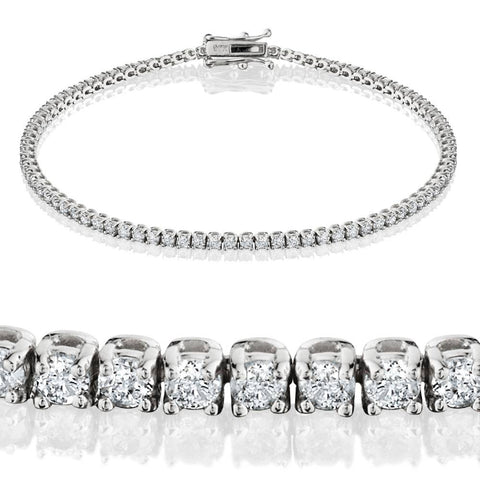 G SI 2ct Lab Grown Diamond Tennis Bracelet 14K White Gold 7""
