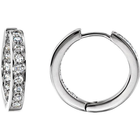 3/4 Ct Diamond Inside Outside Hoops 14K White Gold