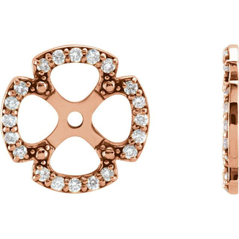 1/5Ct Clover Diamond Earring Jackets 14K Rose Gold (5-5.5mm)
