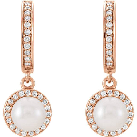 14kt Rose Freshwater Cultured Pearl & 1/5ctW Diamond Dangle Hoops Earrings