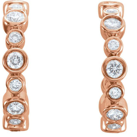 "3/8CT Diamond Vintage Hoops 14k Rose Gold 1/2"" tall"