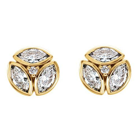 G SI 1/2cttw Marquise Diamond Cluster Studs 14k Yellow Gold