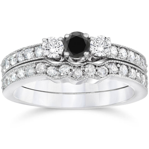 3/4ct Treated Black Diamond Three Stone Vintage Ring Set 14K White Gold