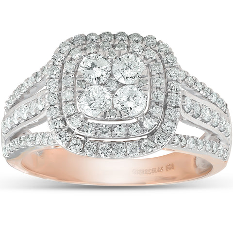 1 1/10 Ct Diamond Cushion Halo Multi Row Engagement Ring Wedding Set Rose Gold