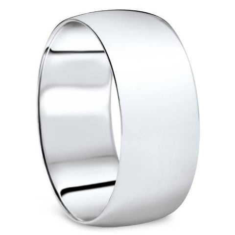 High Polished 9MM Dome Mens Wedding Band Ring Solid 10K White Gold