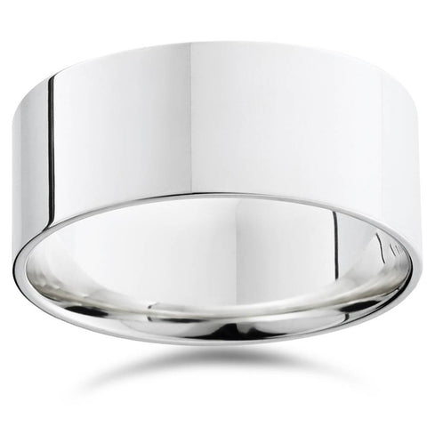 Flat High Polished 9MM Mens Wedding Band Ring 14K White Gold