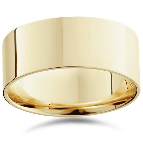 High Polished 9MM Flat Mens Wedding Band Ring Solid 14K Yellow Gold
