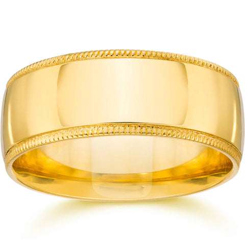 9MM Wide Milgrain Wedding Band 14K Yellow Gold