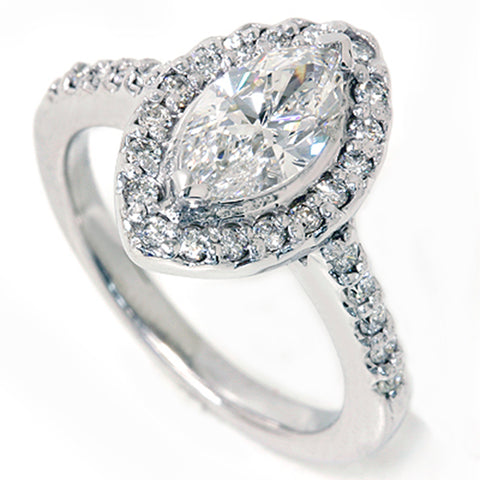1 3/8ct Marquise Halo Diamond Ring 14K White Gold