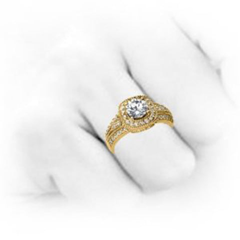 1 1/10ct Vintage Diamond Engagement Ring 14K Yellow Gold