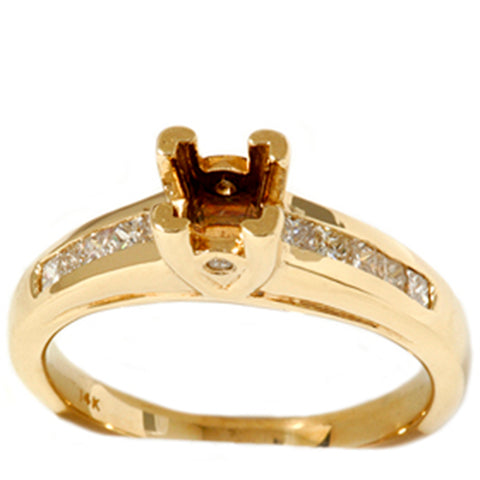 1/3ct Princess Cut Diamond Semi Mount Ring Solid 14K Yellow Gold