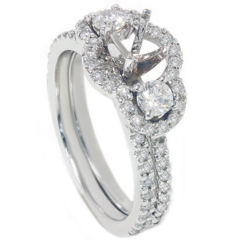 1 1/10ct 3 Stone Diamond Engagement Ring Setting Bridal Set