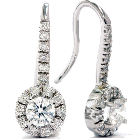 1 1/20ct Pave Halo Diamond Earrings Solid 14K White Gold