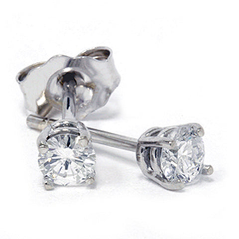 1/3ct Round Diamond Studs Earrings 14K White Gold