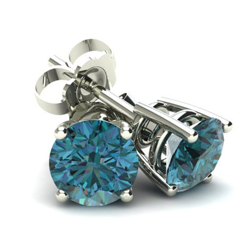 .33Ct Round Brilliant Cut Heat Treated Blue Diamond Stud Earrings in 14K Gold Basket Setting