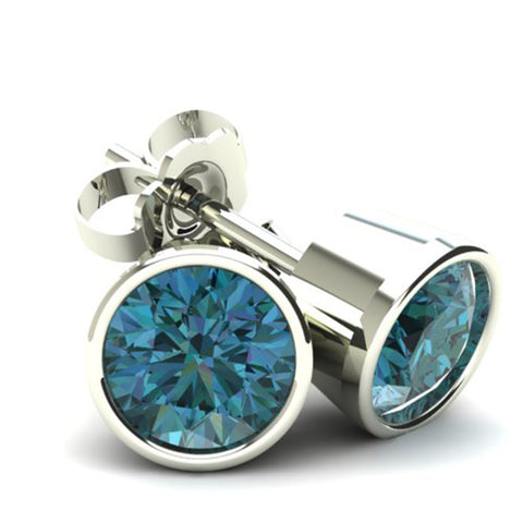 .33Ct Round Brilliant Cut Heat Treated Blue Diamond Stud Earrings in 14K Gold Round Bezel Setting