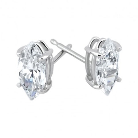 1/4ct Marquise Diamond Stud Earrings Solid 14K White Gold