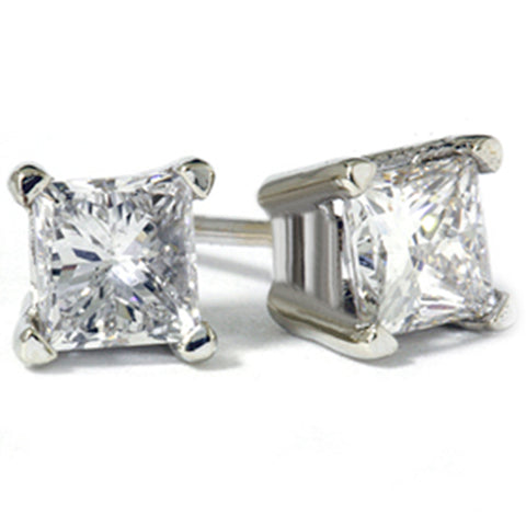 1ct Princess Diamond Studs Earrings 14K White Gold