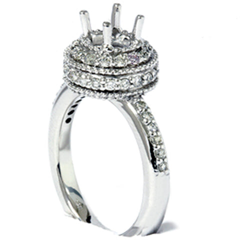 1/2ct Antique Diamond Ring Setting 14K White Gold