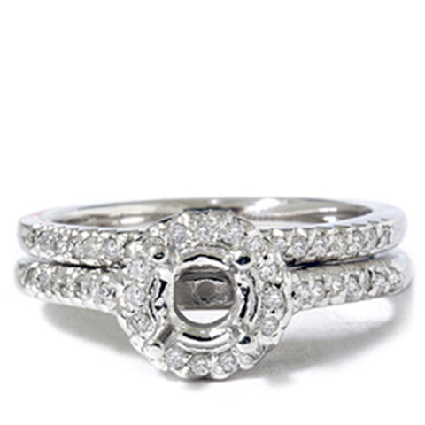 1/4 CT Pave Halo Diamond Bridal Engagement Set Mounting