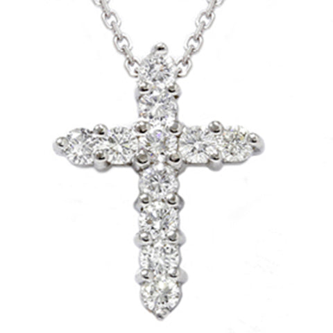 "1ct Diamond Cross Pendant 14K White Gold 1"" Tall"