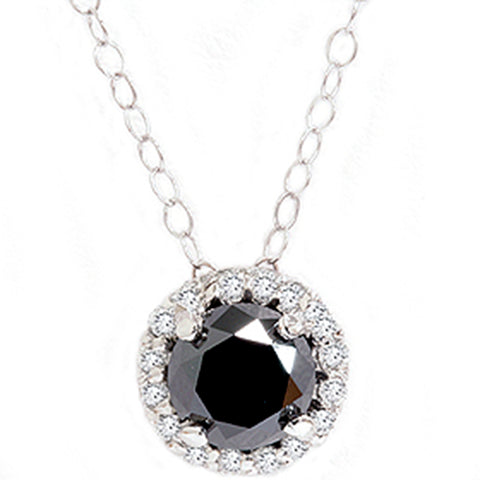 1 1/8ct Black White Diamond Solitaire Pave Halo Pendant
