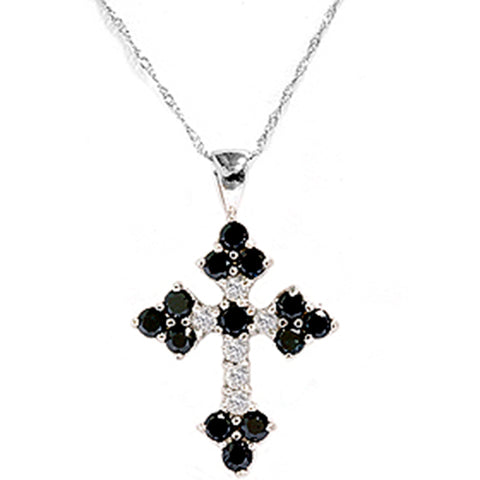 1 3/4ct Black & White Diamond Cross Pendant White Gold