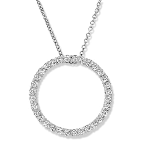 14K White Gold 1/2ct Circle Of Life Diamond Pendant Necklace