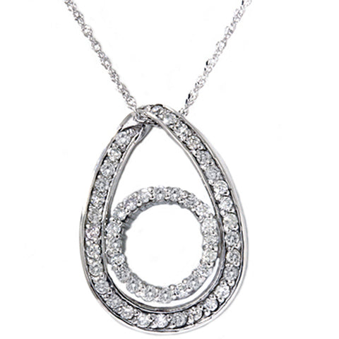 White Gold 1/2ct Oval Circle Diamond Pendant Necklace