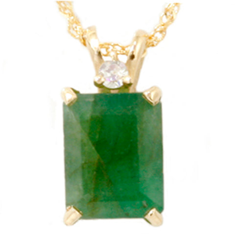 1CT Green Emerald & Diamond Solitaire Pendant Yellow Gold