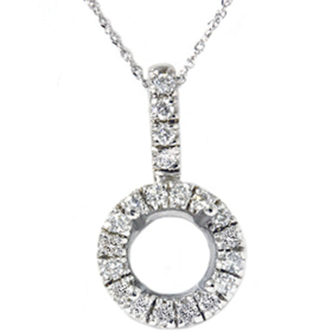 White Gold 1/4ct Pave Have Solitaire Diamond Semi Mount Pendant