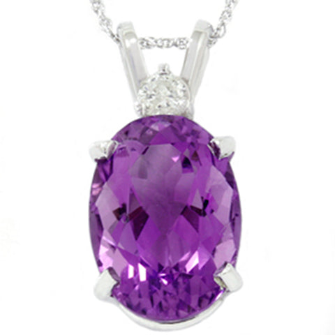 White Gold 7 1/10ct Oval Amethyst & Diamond Pendant