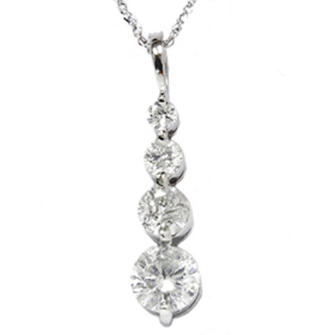 1 1/2ct Real Diamond Journey Pendant Solid 14K White Gold