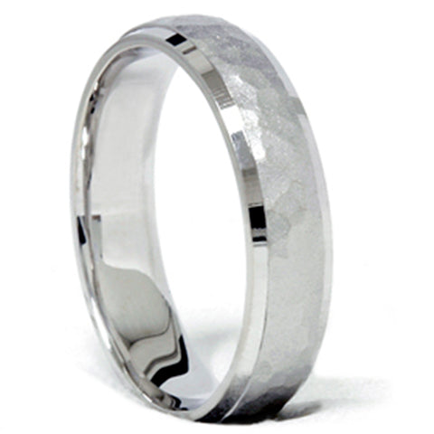 14K White Gold Hammered Comfort Fit Wedding Ring Band