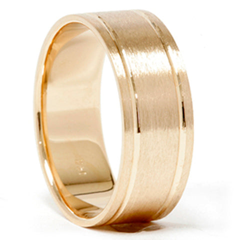 14k Yellow Gold Comfort Fit Brushed Mens Wedding Band Bliss Diamond