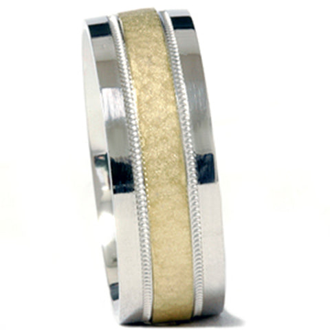 Mens 950 Platinum & 18K Gold Hammered Wedding Band Ring