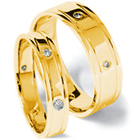 14K Gold Matching Diamond Wedding Band Set