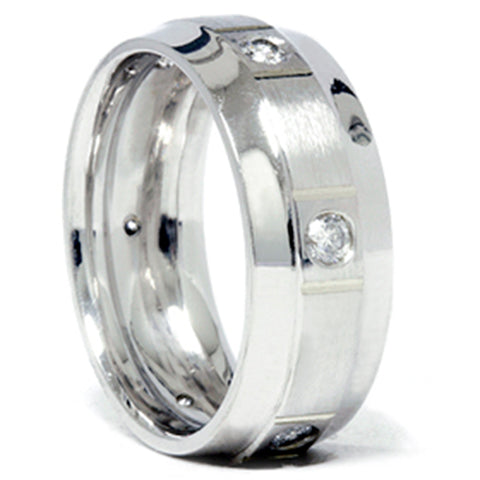 Mens 3/4ct Comfort Fit 14K White Gold Wedding Band Ring