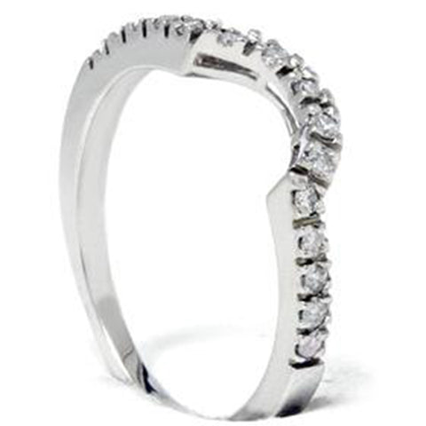.25Ct Curved Real Diamond Notched Wedding Ring Enhancer 10K White Gold 10 Karat