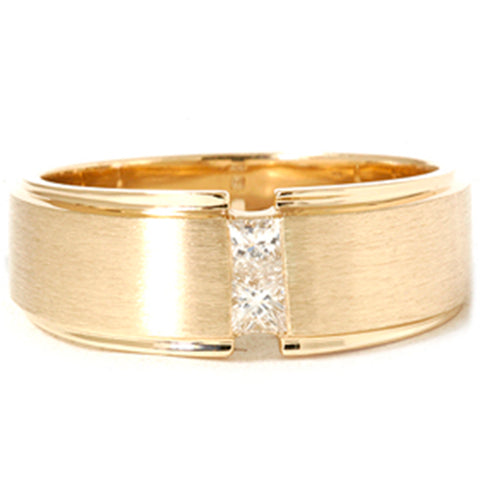 Mens Gold Princess Cut Diamond Brushed Wedding Ring