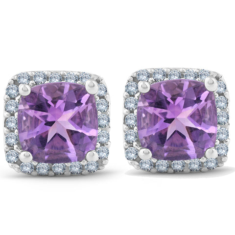 3ct Pave Halo Amethyst Studs 14K White Gold