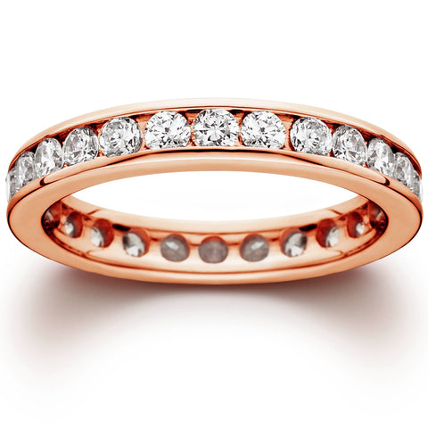 1 1/2ct Channel Set Diamond Eternity Ring 14K Rose Gold