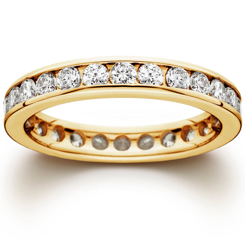 1 1/2CT Channel Set Diamond Eternity Ring 14K Yellow Gold